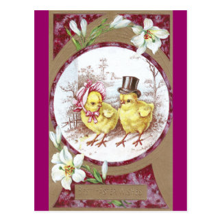 Girl Chick, Boy Chick & Easter Lilies Postcard