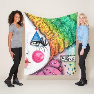 Girl Clown Mime Bright Colourful Rainbow Sparkle Fleece Blanket