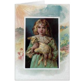 Girl Cradling Lamb Victorian Easter Cards
