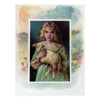 Girl Cradling Lamb Victorian Easter Postcard