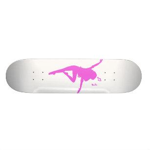 Girl dancer silhouette - Choose background color Skateboard