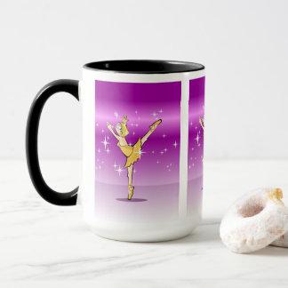 Girl dances ballet dressed gilded mug