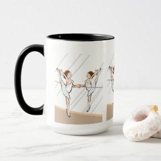 Girl dances ballet to the mirror front mug