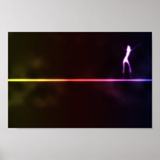 Girl-dancin-on-neon-light-line121 DANCING SHADOW A Posters