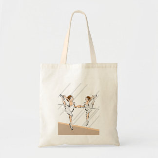 Girl dancing ballet front to the mirror tote bag