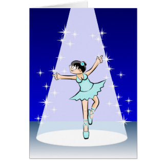 Girl dancing ballet while she is illuminated card