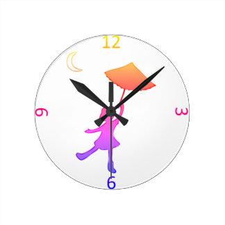 Girl dancing With An Umbrella Round Clock