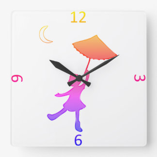 Girl dancing With An Umbrella Square Wall Clock