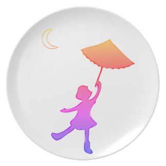 Girl dancing with her umbrella dinner plates