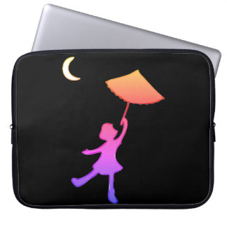 Girl dancing with her umbrella laptop sleeve