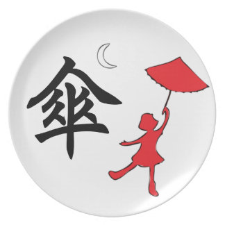 Girl dancing with her umbrella plate