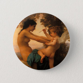 Girl Defending Herself Against Cupid by Bouguereau 2 Inch Round Button