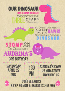 Birthday invitations announcements zazzle ca girl dinosaur birthday invitation filmwisefo