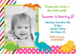 Dinosaur 1st birthday invitations announcements zazzle ca girl dinosaur birthday invitation for filmwisefo