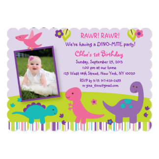 "Girl Dinosaur Birthday Invitations 5"" X 7"" Invitation Card"