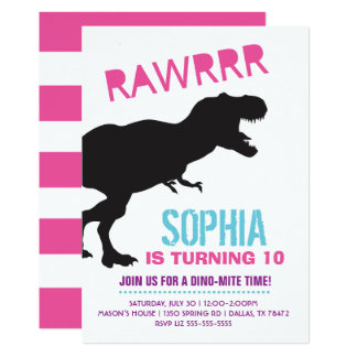 Girl Dinosaur Birthday Party Invitation