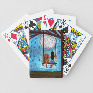 Girl, Dog, Swing, Moon Bicycle Playing Cards