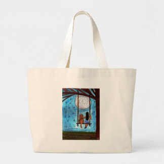 Girl, Dog, Swing, Moon Large Tote Bag