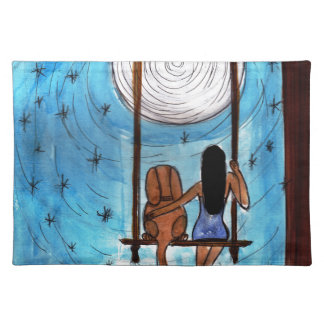 Girl, Dog, Swing, Moon Placemat