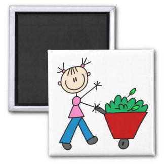Girl Doing Yardwork Magnet