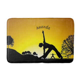 Girl Doing Yoga At Sunset Silhouette Personalized Bath Mat