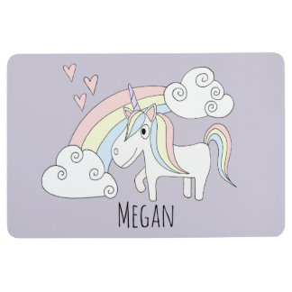 Girl Doodle Unicorn Rainbow Hearts Name Nursery Floor Mat
