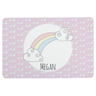 Girl Doodle Whimsical Rainbow Pattern Name Nursery Floor Mat
