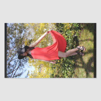 Girl Dress Red Sun Hat Model Sticker