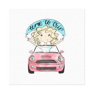 Girl Driving A Car Canvas Print