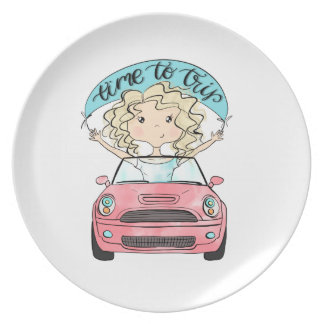 Girl Driving A Car Plate