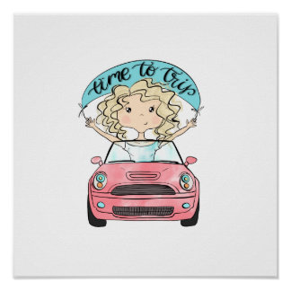 Girl Driving A Car Poster