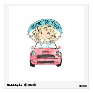 Girl Driving A Car Wall Sticker