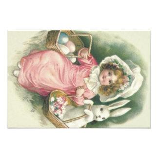Girl Easter Basket Bunny Colored Eggs Photo Print