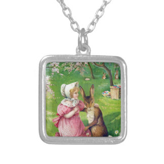 Girl Easter Bunny Colored Eggs Dogwood Silver Plated Necklace