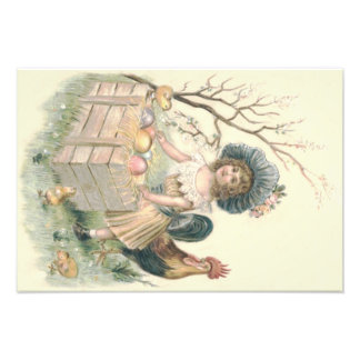 Girl Easter Chick Rooster Colored Egg Photographic Print