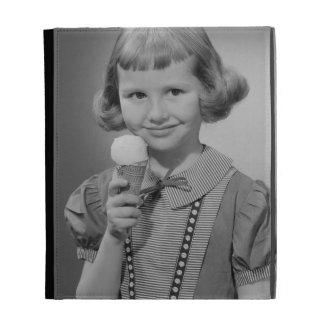 Girl Eating Ice Cream iPad Folio Case