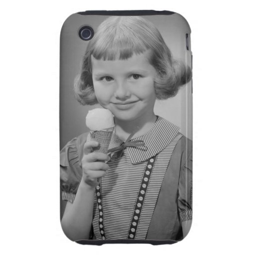Girl Eating Ice Cream Tough iPhone 3 Cover