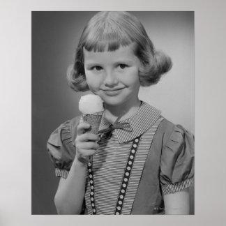 Girl Eating Ice Cream Poster