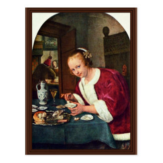 Girl Eating Oysters., Oestereetstertje  By Jan Ste Postcard