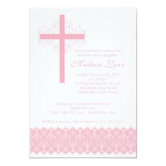 Girl Elegant Lace  Baptism | Christening Cross Personalized Invites