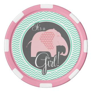 Girl Elephant; aqua Green Chevron Set Of Poker Chips
