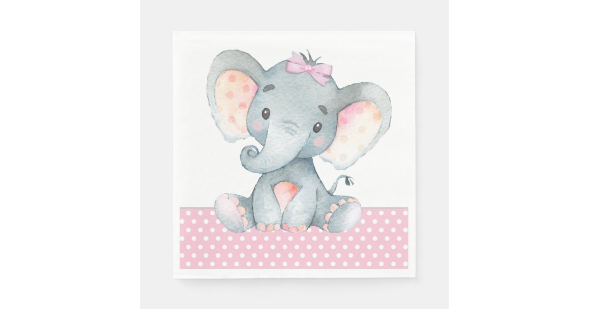 Girl Elephant Baby Shower Paper Napkins Zazzle Ca