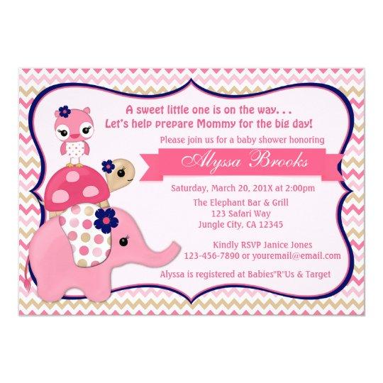 Girl Elephant Ellie Baby Shower Invitations