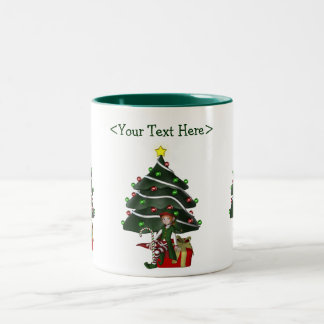 Girl Elf Christmas Tree Personalized Holiday Mug