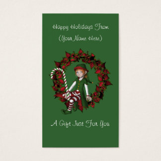 Girl Elf Wreath Christmas Holiday Gift Card Tag