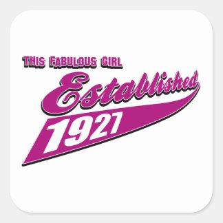 Girl Established 86 Square Sticker