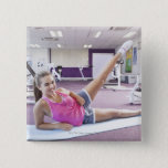 Girl Exercising in Gym 2 Inch Square Button