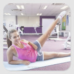 Girl Exercising in Gym Square Sticker