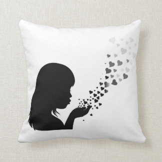 Girl_face_and_heart Throw Pillow