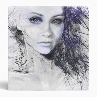 Girl Face Eyes Hair Drawing 3 Ring Binder